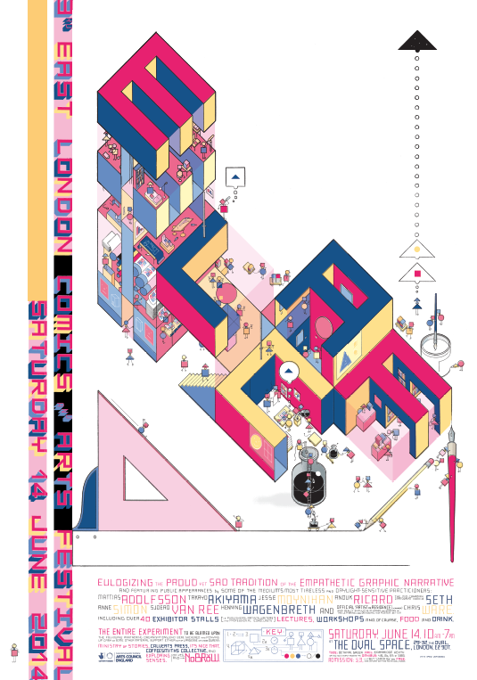 Poster by Chris Ware for ELCAF 2014