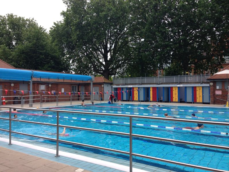 London Fields Lido on a Sunday morning.